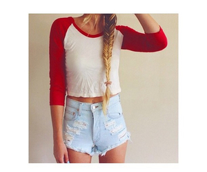 hair, outfit, and shorts image