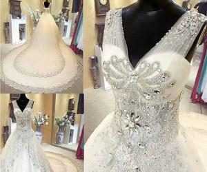 diamonds, wedding, and dress image