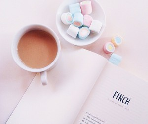 book, coffee, and marshmallow image