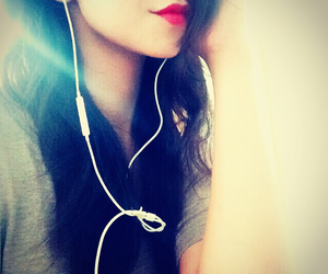 beauty, earphones, and girl image