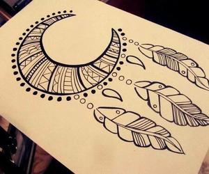 drawing, moon, and art image