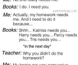 books, harry potter, and homework image