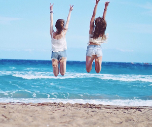 best friends, jump, and photoshoot image