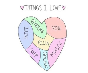 love, pizza, and music image