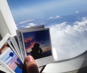 sky, polaroid, and travel image