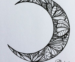 drawing, moon, and tattoo image