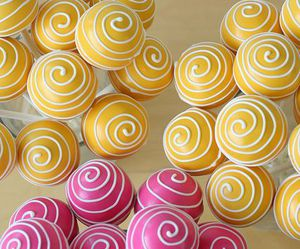 cake pops, pink, and yellow image
