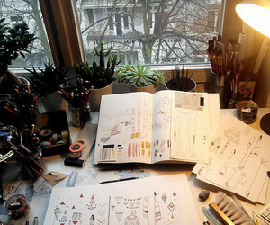 art, drawing, and plants image