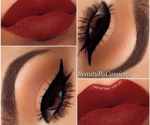 cat eye, red lips, and cosmetics image