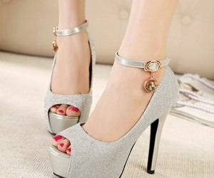 shoes, elegant, and silver image