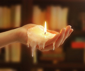 burning, candle, and hand image
