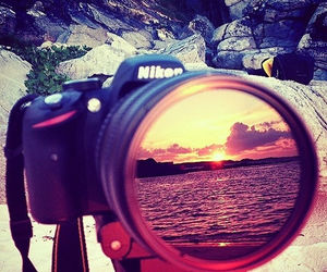 nikon, camera, and sunset image