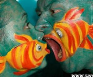 fish, kiss, and art image