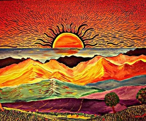 sun, art, and color image