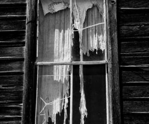 black and white, broken, and window image