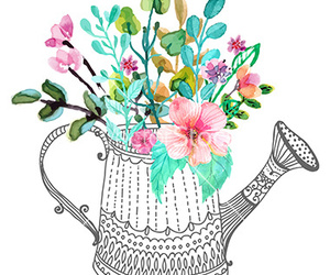 flowers, watercolor, and watering can image