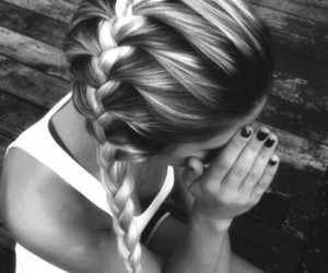 black and white, girl, and hairstyle image