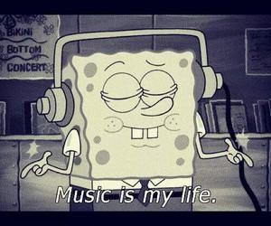 music, spongebob, and life image