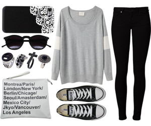 outfit, black, and sunglasses image