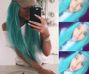 hair, turquoise, and jenner kylie image