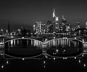 black and white, city lights, and frankfurt image
