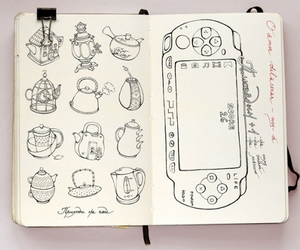 illustration, teapot, and drawing image