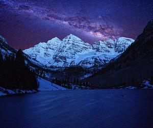 mountains, stars, and landscape image