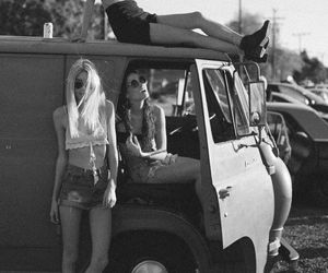 girl, friends, and black and white image