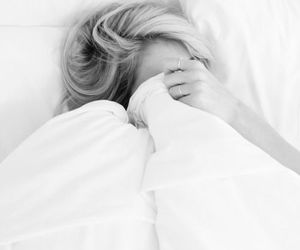 bed, girl, and black and white image