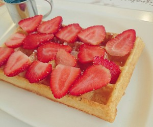 breakfast, strawberries, and waffles image