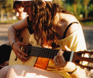 girl, guitar, and photography image