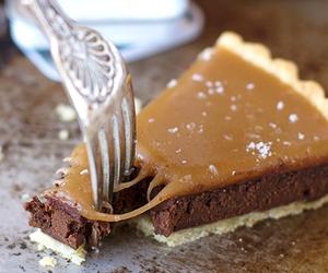 cake, caramel, and chocolate image