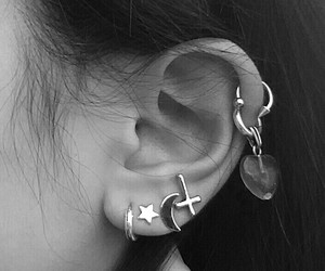black and white, cross, and ear image
