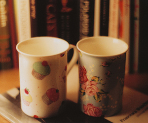 cup, vintage, and book image