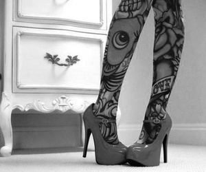 tattoo, shoes, and black and white image
