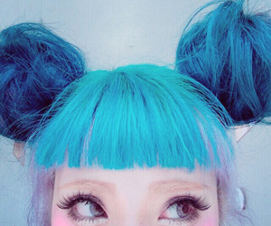 kawaii, cute, and blue hair image