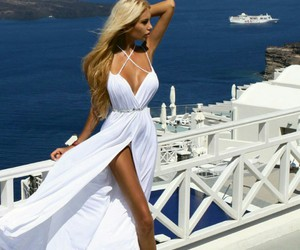 dress, blonde, and summer image
