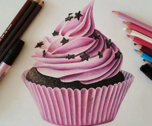 drawing, art, and cupcake image