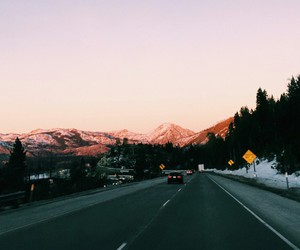 road, travel, and mountains image