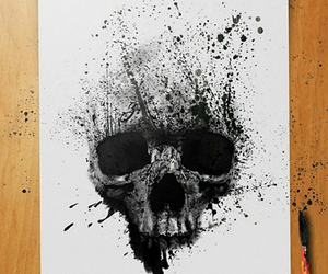 skull, drawing, and painting image