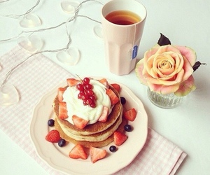 food, pancakes, and strawberry image