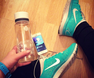 girl, iphone, and nike image