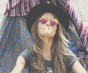 girl, flowers, and sunglasses image