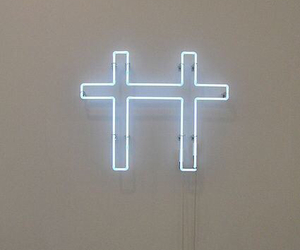 cross, neon, and light image