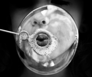 bubbles, black and white, and photography image
