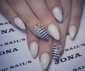 black and white, fashion, and nails image