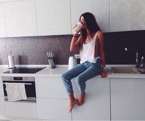 girl, style, and kitchen image