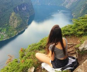 mountains, girl, and hair image