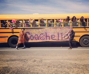 coachella, bus, and chris brown image