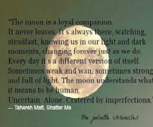 books, moon, and quotes image